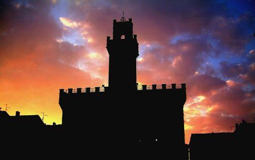 castle sky sunset