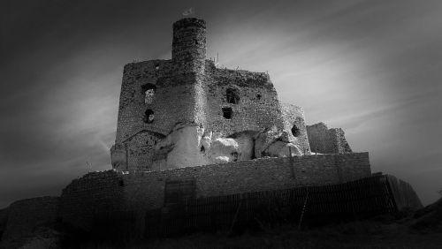 pilis,scenoje,griuvėsiai,mirow,juoda ir balta,istorija,klimato požiūriu