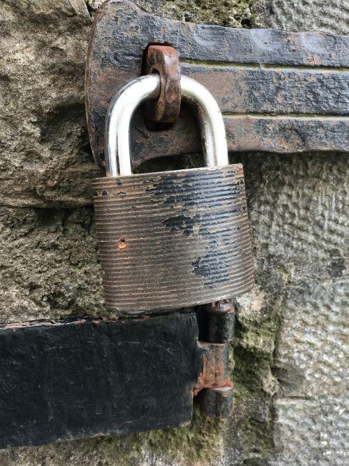 castle padlock old metal
