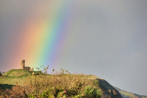 castle  rainbow  ruin