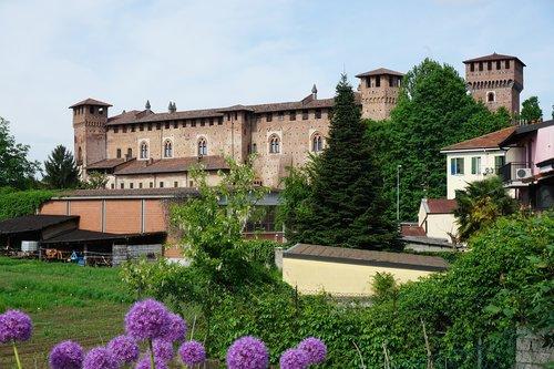 castle sant'angelo lodigiano  castle  purple flowers