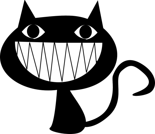 cat laughing grinning