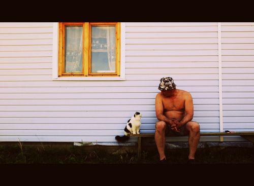 cat man outdoors