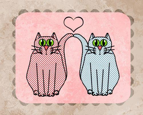 katė, kačiukas, kačių, naminis gyvūnėlis, romantika, meilė, taškuotas, taškas, kortelė, fonas, kortelė, vintage, susikrimtęs, ištemptas, katės romantika kortelė