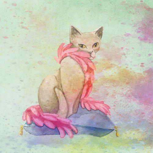 Cat Watercolor Splatter
