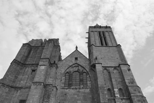 cathedral dol de bretagne photo black white