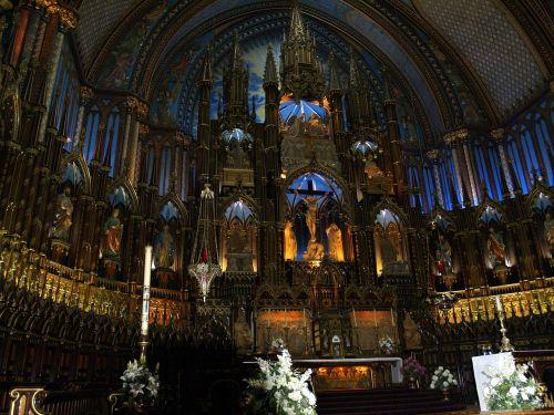 katedra,bažnyčia,pastatas,interjeras,ornate,apdaila,katalikų,krikščionis,krikščionybė,religinis,turistinis,ekskursijos,paveldas,monrealis,Kanada