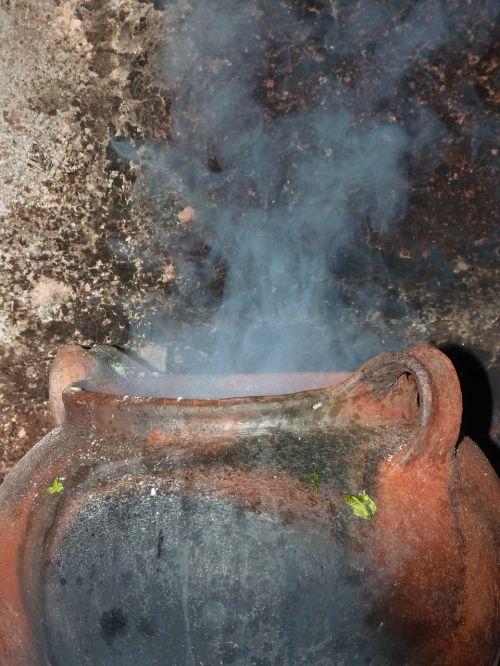 cauldron cooking pot steam