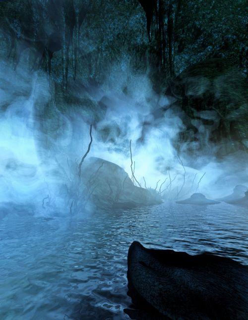 vanduo, baseinas, tvenkinys, dūmai, urvas, po žeme, akmenys, tamsi, šviesa, urvas fone 8