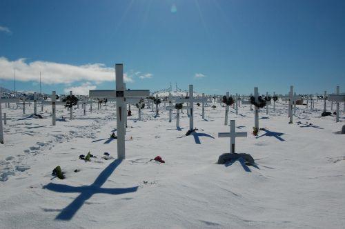 cemetery cross snow