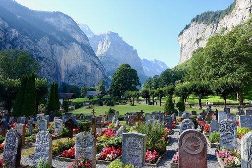 cemetery  lauterbrunnen  alps