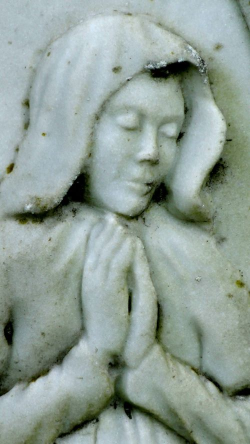 Cemetery Woman Praying In Graveyard
