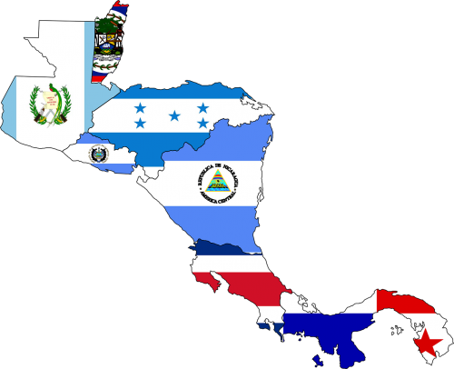 central america map flag