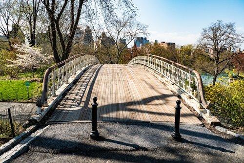 central park  bridge  spring