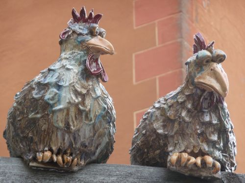 ceramic chickens wall