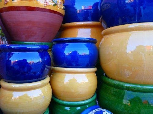 ceramic pots colorful