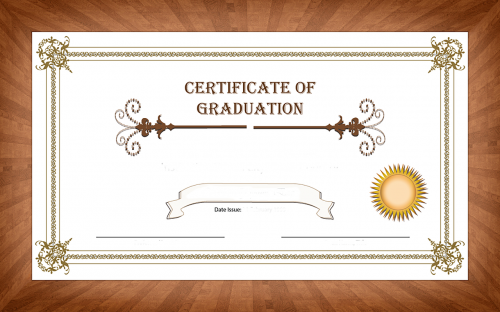 certificate graduation wood