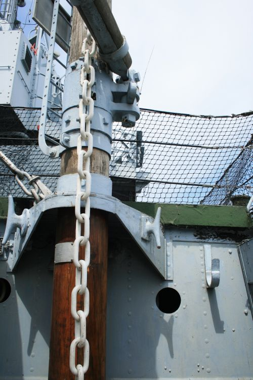 Chain On Deck Of Naval Cruiser