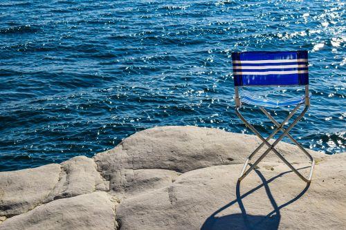chair blue sea