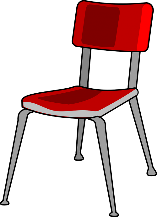 chair red metal