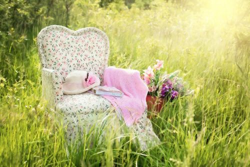 chair in field floral chair pink