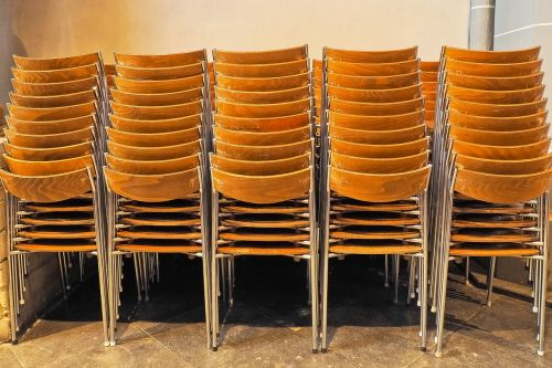 chairs stacked stack