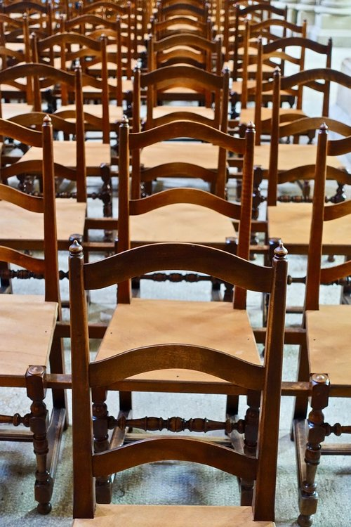 chairs  rows  wooden