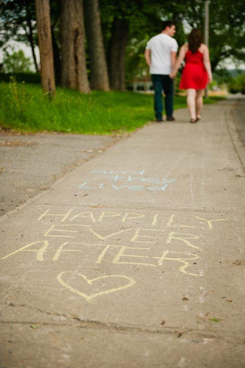 chalk sidewalk couple