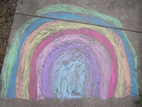 chalk sidewalk chalk rainbow