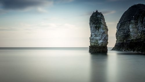 chalk stack seascape cliffs