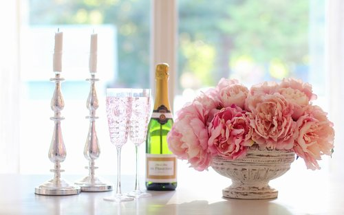 champagne  champagne glasses  peonies
