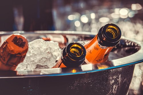 champagne  champagne bottles  ice