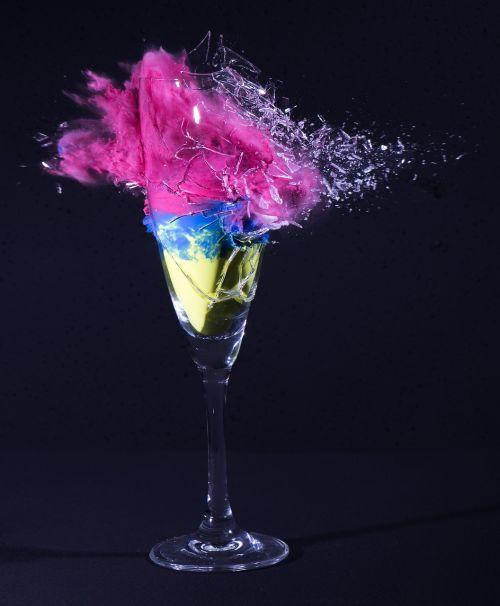 champagne glass explosion shot