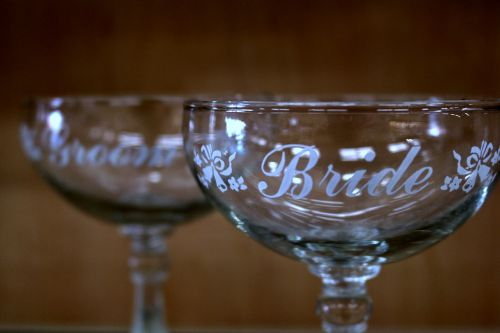 champagne glasses bride groom