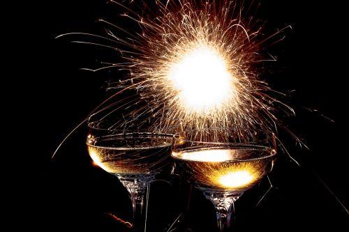 champagne glasses sparkler champagne