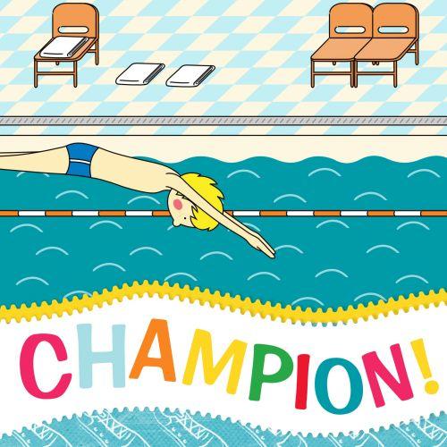Champion Greeting Card Swimming