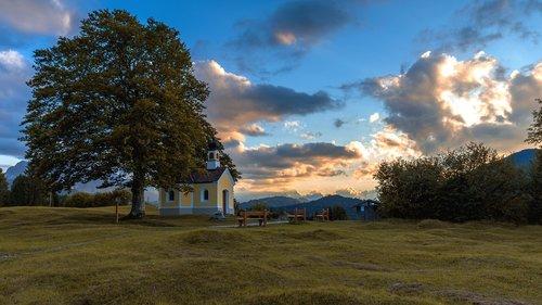 chapel  tree  sky