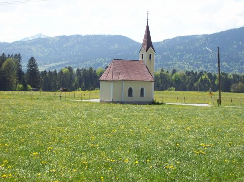 chapel foothills of the alps view
