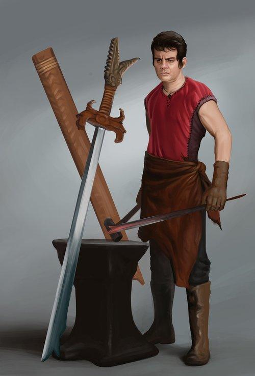 character  blacksmith  digital painting