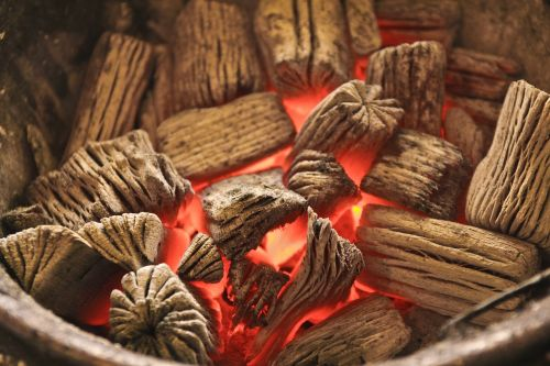 charcoal grilled fire