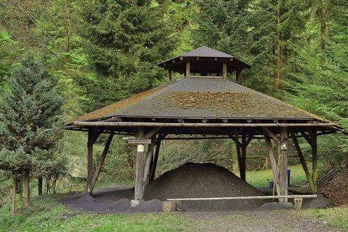 charcoal kiln  ash  wood