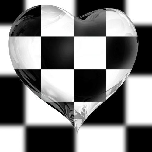 tapetai, tikrintojas, stiklas, šaškių lentelė, širdis, juoda, balta, fonas, meilė, trapi, šaškių širdis