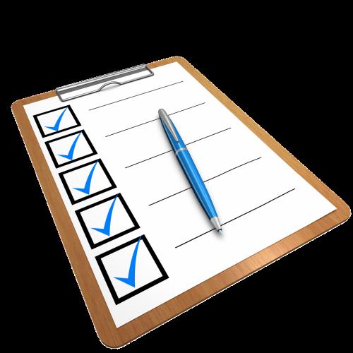 checklist clipboard questionnaire
