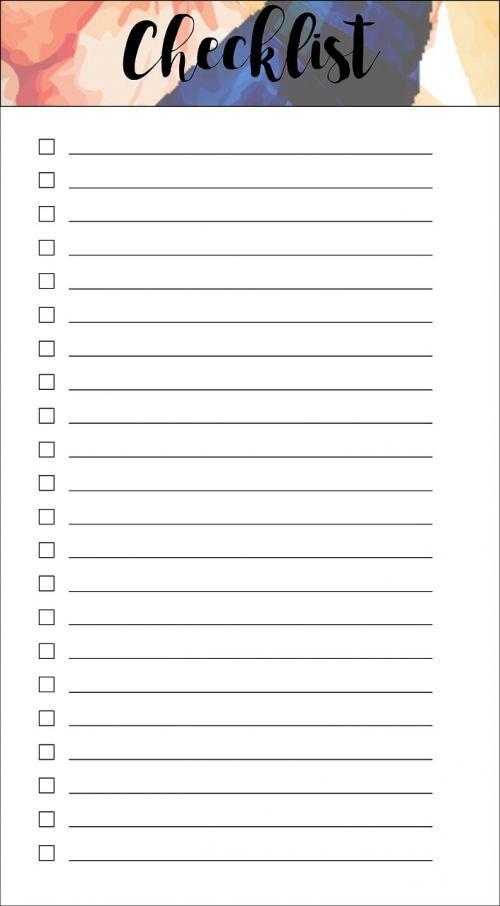 checklist pink watercolor lined checklist