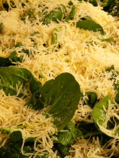 cheese spinach topping