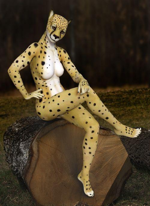 cheetah woman sitting