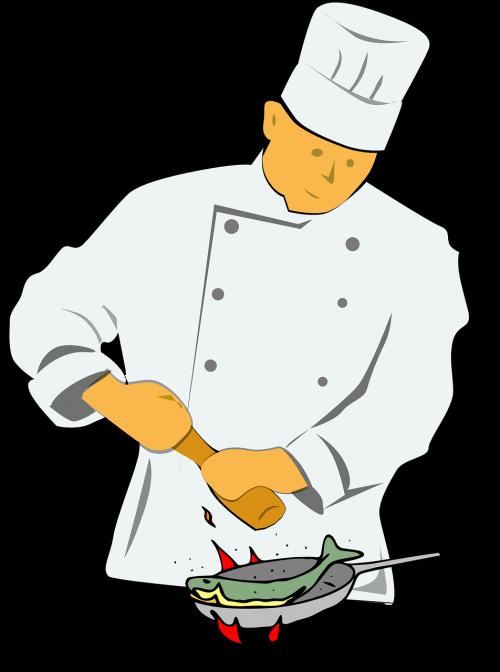 chef frying fish
