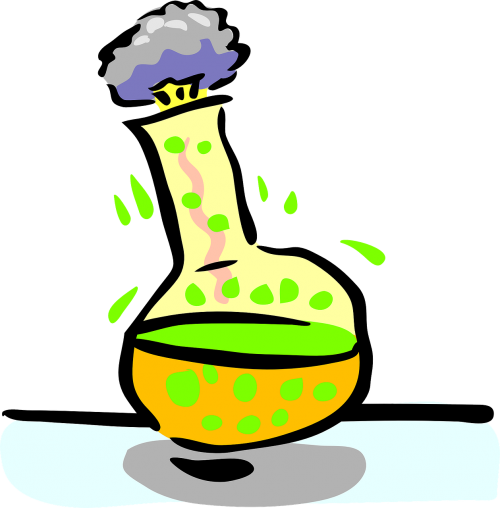chemical reaction experiment flask