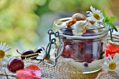 cherries cherry dessert cream