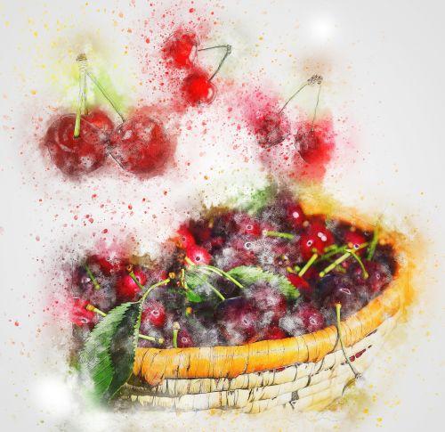 cherries red basket